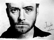 Pencil On Canvas Posters - Jude Law Poster by Stasya Schneider