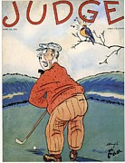 Thirties Drawings Posters - Judge 1930s Usa Golf Magazines Poster by The Advertising Archives