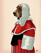 Wall Art Prints Digital Art Metal Prints - Judge Dog Portrait Metal Print by Kelly McLaughlan