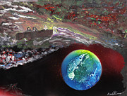 Planet System Paintings - Judging the World by Mike Cicirelli