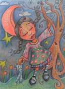 Jane See Art Prints - Judy Pocketbook moon Print by Janie McGee