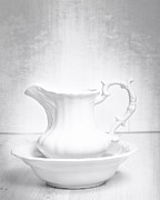 White  Photo Posters - Jug And Bowl Poster by Christopher and Amanda Elwell