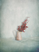 Interior Still Life Metal Prints - Jug with Red Berry Branch  Metal Print by Artskratches