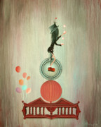 Gothic Painting Originals - Juggling Act. Gothic Circus Fairytale Art By Philippe Fernandez  by Philippe Fernandez