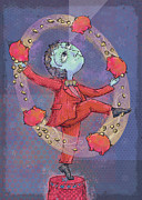 Tie Prints - Juggling Piggies Print by Dennis Wunsch