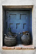 Old Pitcher Framed Prints - Jugs and Blue Window Framed Print by Angela Bonilla
