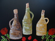Livingstone Posters - Jugs-Vintage Bottles Poster by Beverly Livingstone