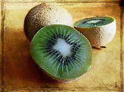 Kiwi Digital Art Prints - Juicy kiwis Print by Barbara Orenya