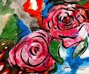 Signed By Artist Posters - Juicy Red Roses Poster by Joan Reese