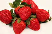 Strawberry Smoothie Metal Prints - Juicy Strawberries Metal Print by Barbara Griffin