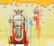 Gloss Digital Art - Juke Box by Liane Wright