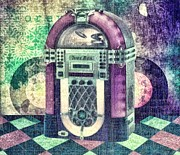 Sound Mixed Media Prints - Juke Box Print by Mo T