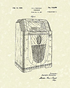 Phonograph Drawings - Jukebox 1938 Patent Art  by Prior Art Design