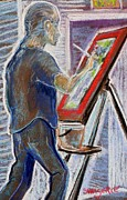 Painter Pastels Posters - Jules at the Easel  Poster by Tim  Swagerle
