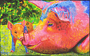 Piglet Paintings - Julia and her Piglet by Bronwen Skye