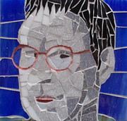 Mosaic Portrait Glass Art - Julia - Out Of The Blue by Gila Rayberg