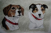 Dogs Drawings - Julie and Ruby by Joan Pye