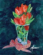 Bright Colors Prints - Julies Tulips Print by Adele Bower