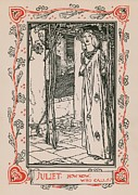 Card Drawings Metal Prints - Juliet from Romeo and Juliet Metal Print by Robert Anning Bell