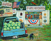 Fireworks Display Paintings - July 3rd South Carolina by Dwain Ray