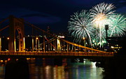 Roberto Metal Prints - July 4th Fireworks in Pittsburgh Metal Print by Jetson Nguyen