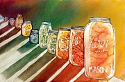 Mason Jars Painting Framed Prints - Julys Harvest Framed Print by Starr Weems