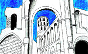 Old Building Drawings - Jumieges by Mary Bedy