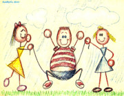 Summer Fun Drawings - Jump for Joy by Cristophers Dream Artistry