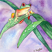 Red-eyed Tree Frog Painting Prints - Jump Print by Susan Duxter