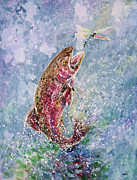 Trout Paintings - Jump by Zaira Dzhaubaeva