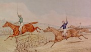 Horseracing Prints - Jumping a Fence Print by Henry Thomas Alken