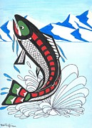 Salmon Paintings - Jumping Chum Salmon by Bob Patterson
