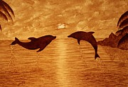Tropical Sunset Originals - Jumping Dolphins At Sunset by Georgeta  Blanaru