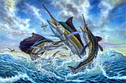 White Marlin Painting Posters - Jumping Grand Slam And Flyingfish Poster by Terry  Fox