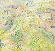 Green Movement Paintings - Jumping Horses by Franz Marc