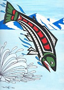 Salmon Paintings - Jumping King Salmon by Bob Patterson