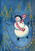 Christmas Eve Painting Posters - Jumping Rope Lights Poster by Katherine Miller