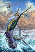 Striped Marlin Posters - Jumping Sailfish And Flying Fishes Poster by Terry Fox