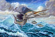 Sabalos Posters - Jumping Sailfish And Small Fish Poster by Terry Fox