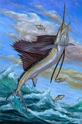 White Marlin Posters - Jumping Sailfish Poster by Terry Fox