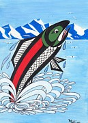 Salmon Paintings - Jumping Silver Salmon by Bob Patterson