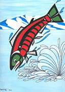 Salmon Paintings - Jumping Sockeye Salmon by Bob Patterson
