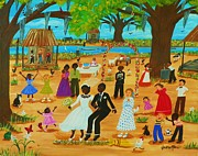 Gumbo Paintings - JUMPING THE BROOM  Bayou Kids by Jacklyn Marie Adelfio
