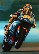 Honda Motorcycles Prints - Jumping Vale Print by Paul  Meijering