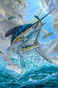 Blue Art Prints - Jumping White Marlin And Flying Fish Print by Terry Fox