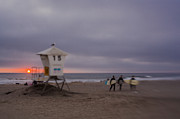 Surf Silhouette Prints - June Gloom at Mission Beach Print by Scott Campbell