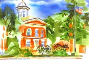 Blue And Green Paintings - June Morning at the Courthouse by Kip DeVore