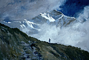 Hiker Paintings - Jungfrau by John Cooke
