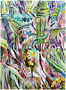Color Green Drawings Posters - Jungle Abstract Poster by Mindy Newman