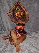 African American Cloth Doll Sculptures - Jungle Beauty Goddess Chalbi by Cassandra George Sturges